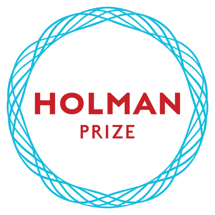 "Holman Prize logo, A light blue circle made of twisting strands surrounding red text that reads ""Holman Prize"". The background is white. Underneath in white it reads ""Holman""."