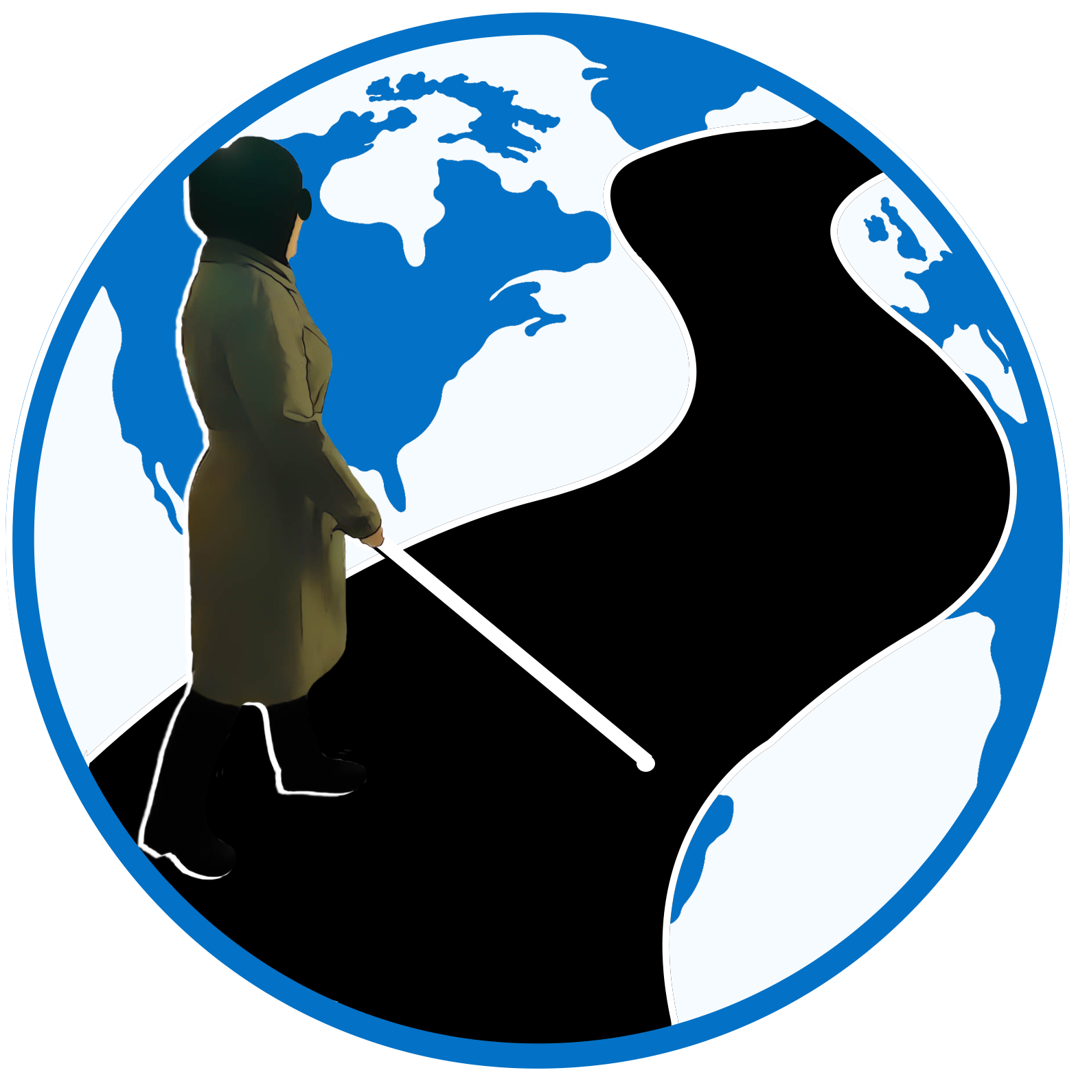 Planes, Trains, and Canes logo showing women with cane walking down a road that spans the globe