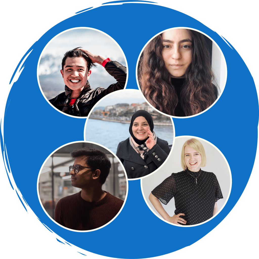 "A blue circle. In the blue circle are the pictures of the five members of PTC, Mona Minkara, Natalie Guse, Benjamin Ted Jimenez, Anxhela Becolli, and Afridi Shaik. Below in white text it reads,"" Team"""