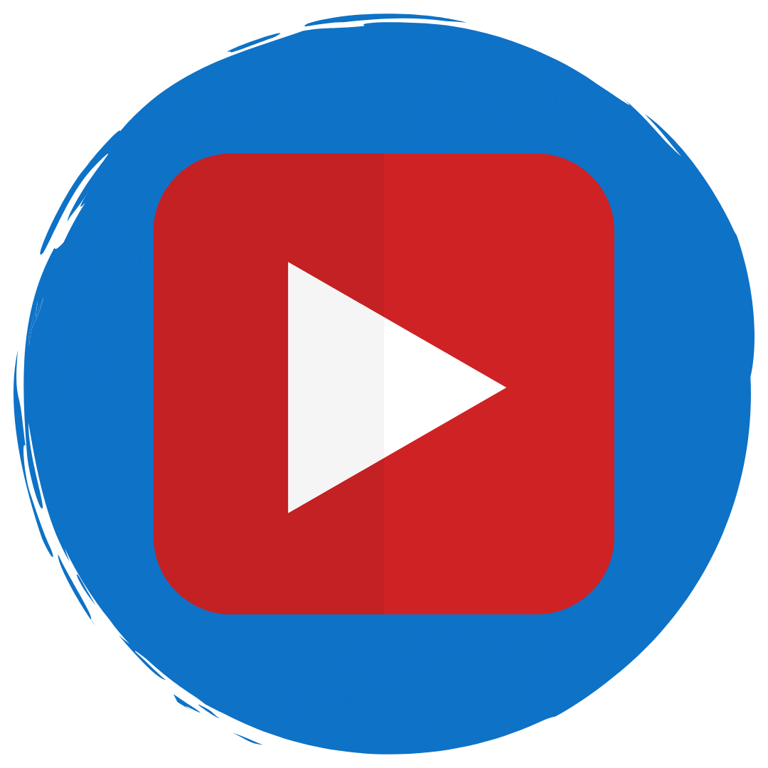 "Red YouTube play button logo in a blue circle. Under in white text is reads,"" Videos"""