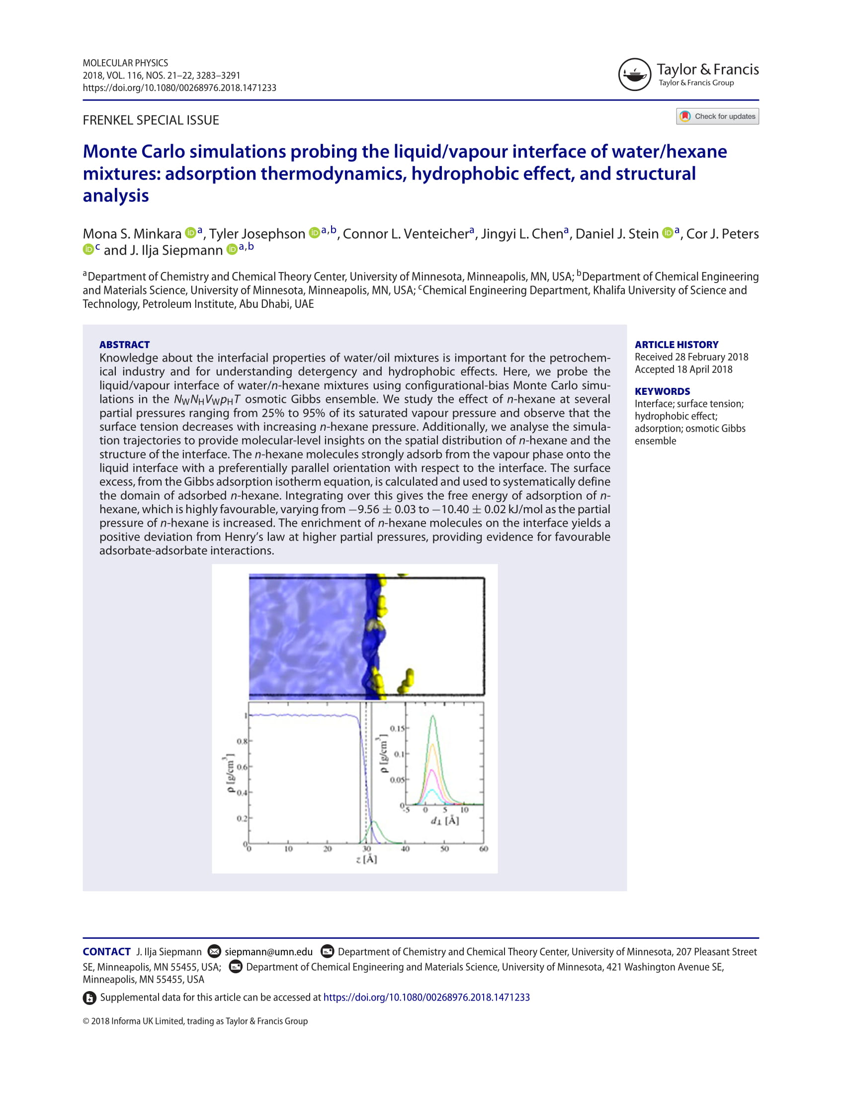 Monte Carlo Simulations Probing the Liquid/Vapour Interface of Water/Hexane Mixtures: Adsorption Thermodynamics, Hydrophobic Effect, and Structural Analysis