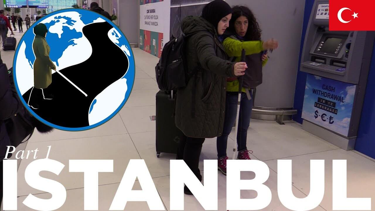 A thumbnail for The Power of Human Connection - Planes, Trains and Canes Istanbul Episode 3 Part 1. An image of Mona standing in a Turkish bus terminal asking a woman for directions. Superimposed on the image is the PTC Logo and a flag of Turkey.