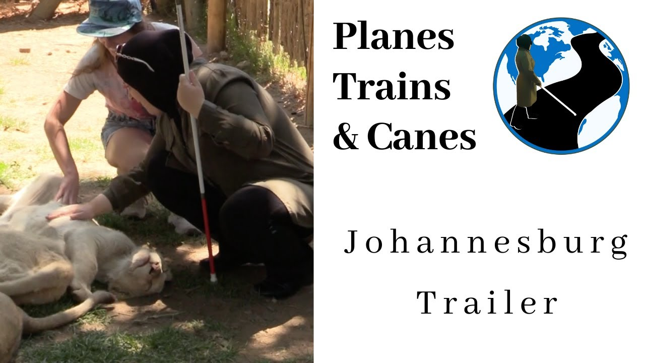 A thumbnail for Johannesburg Trailer | Planes Trains and Canes. An image of Mona petting a young lion with the aid of a safari guide.