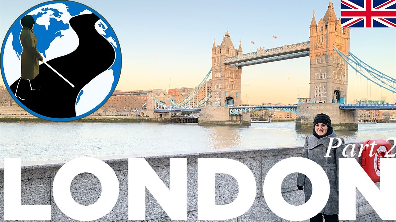 A thumbnail for Blind Culture in London - London Episode 2 Part 2. An image of Mona standing in front of London Bridge. Superimposed on the image is the PTC Logo and a flag of the UK.