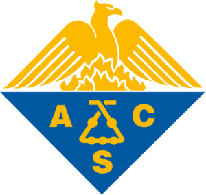 American Chemical Society logo, A blue and gold diamond slit in half horizontally. On the top a golden phoenix rises out of golden flames. The bottom half is a solid blue and has the letters A C S spread around a Kaliaapparat in golden text