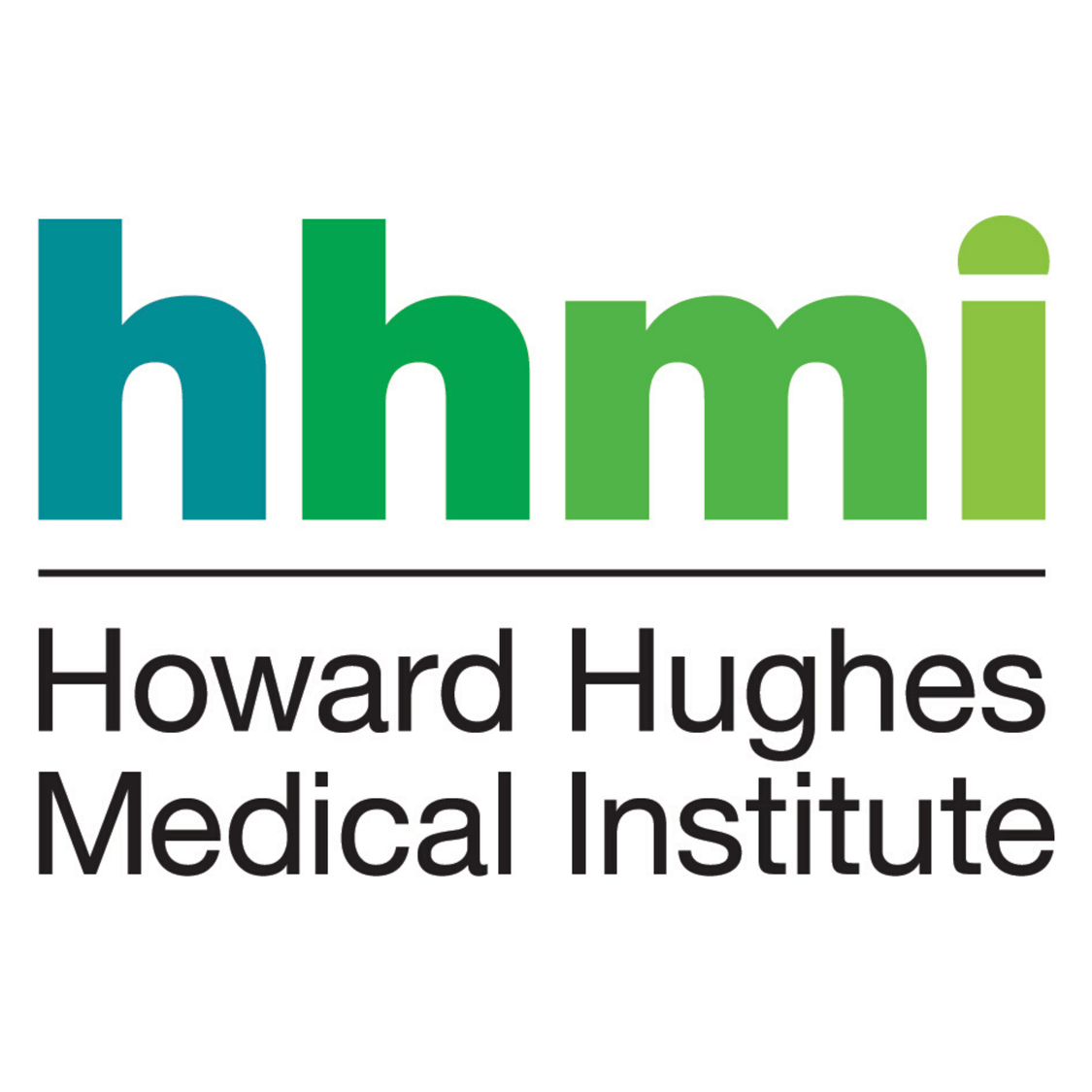 "Howard Hughes Medical Institute logo, In shades of green and cyan the letters h h m I are together in lowercase. Below is a black horizontal line. Under this line reads, ""Howard Hughes Medical Institute."""