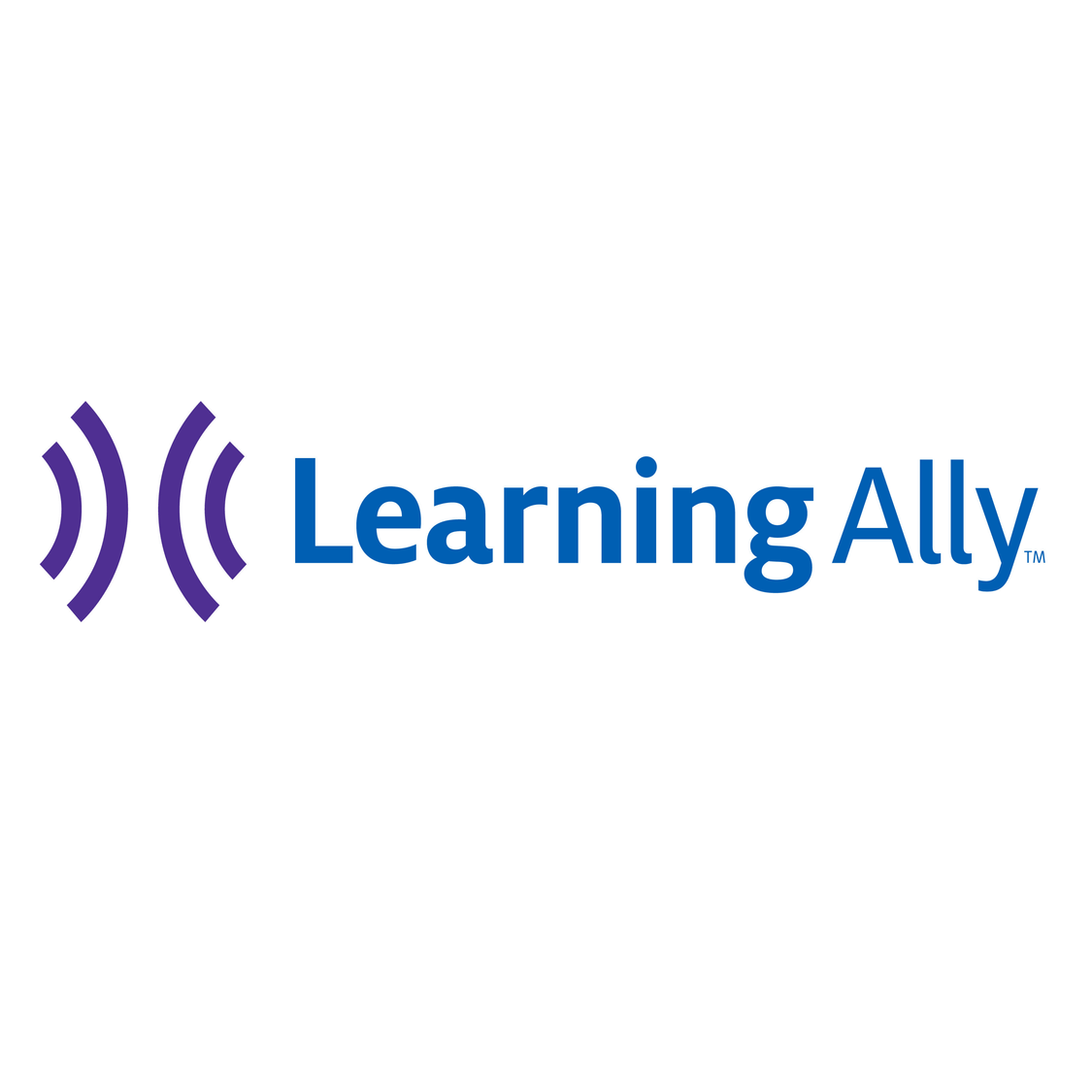 "Learning Ally logo, Two purple radio waves facing each other. Next to it in bolded blue text it reads ""Learning Ally"""