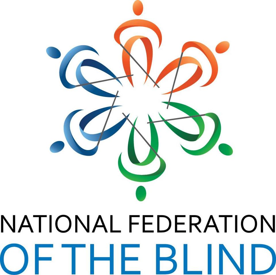 "National Federation of the Blind logo, Six figures of people, two red, two green, and two blue stands in a circle. Each one holds a cane made of one thin black line. Below in black and blue text is reads,"" National Federation of the Blind"" in all capital letters."