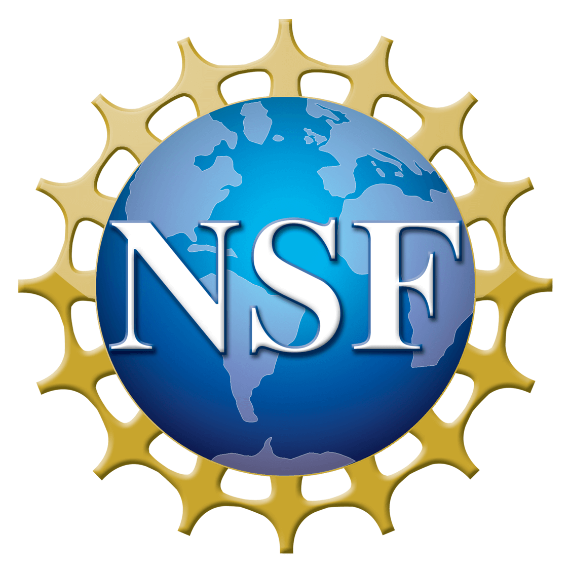 National Science Foundation logo, A blue globe of the earth with small golden figures standing on the edges of the globe. All the figures are connected with thin gold arms. Superimposed on the globe in white letters is NSF