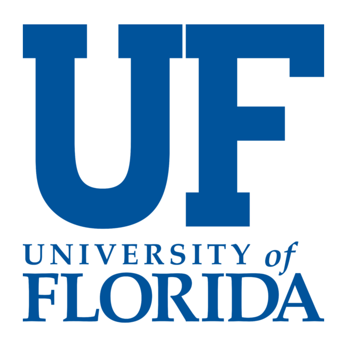 "University of Florida logo, In large blue letters is a U and a F next to each other. Below in blue text reads, ""University of Florida"""