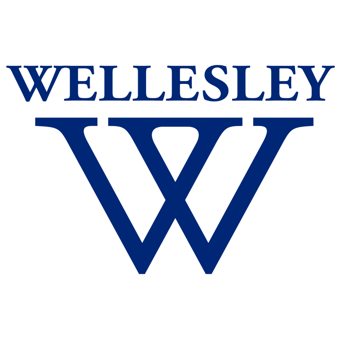Wellesley logo, In blue text it reads Wellesley. Below is the Wellesley logo made of two large blue W's superimposed on each other.