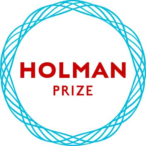 "Holman Prize logo, A light blue circle made of thin twisting strands surrounding red text that says ""Holman Prize""."