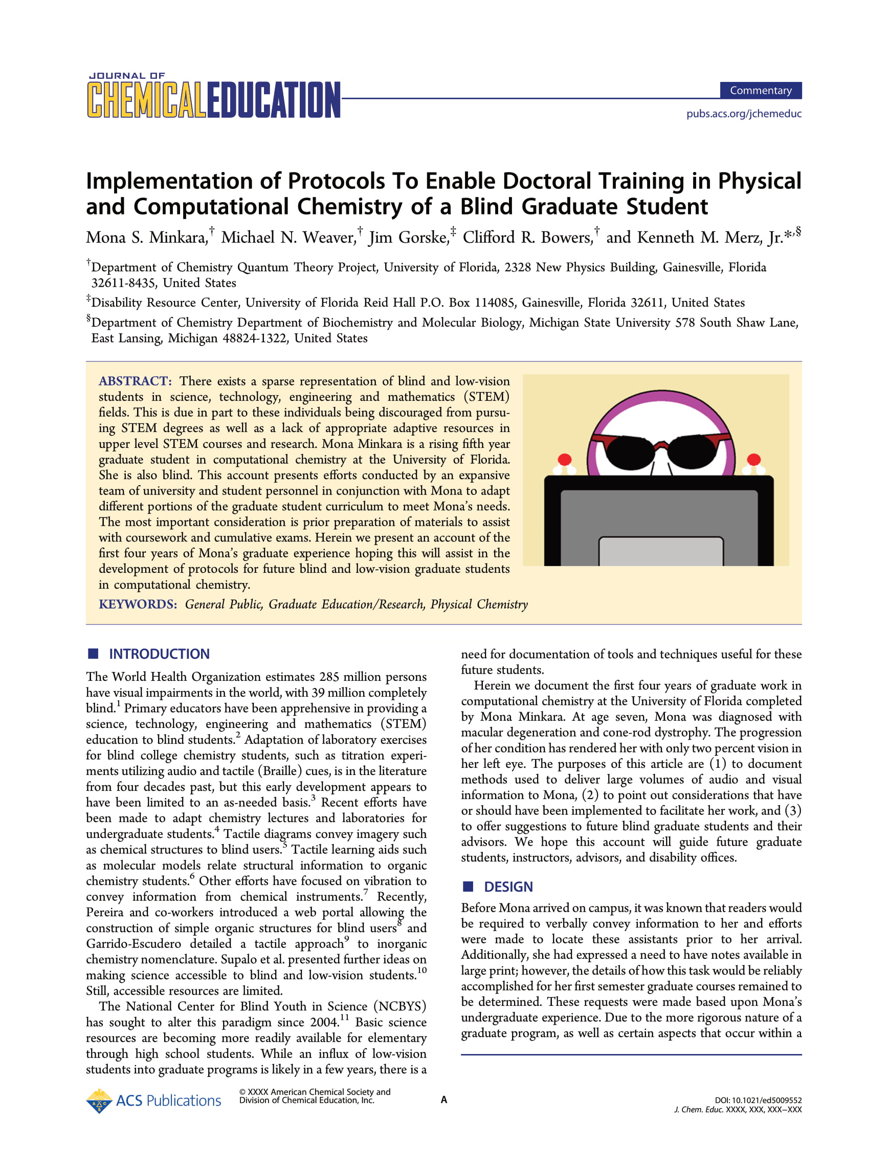 Implementation of Protocols to Enable Doctoral Training in Physical and Computational Chemistry of a Blind Graduate Student