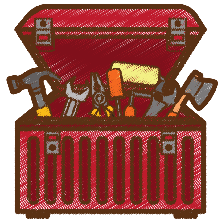 An open red cartoon toolbox filled with various tools.