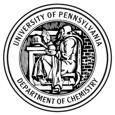 "The University of Pennsylvania Department of Chemistry logo. An elderly man in long robes sits in a desk. In one hand he holds a ball in the pal of his hand. The other hand is held up. Behind him is a brick wall. A circle encloses this scene and around it reads ""University of Pennsylvania – Department of Chemistry"""